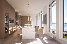 A cozinha conta com armários de carvalho e bancadas de mármore = 70 VESTRY/ NYC