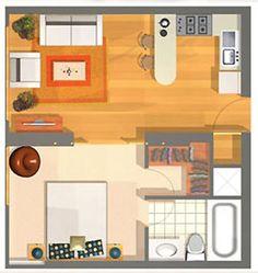 Apartment Bedroom Design Couples Floor Plans 50 Ideas For 2019 Small Apartment Plans, One Bedroom Apartment, Small Apartments, Small Spaces, Bright Apartment, The Plan, How To Plan, Small House Plans, House Floor Plans