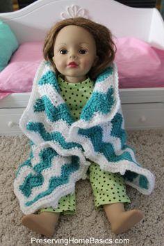Chevron Crocheted American Girl Doll Blanket