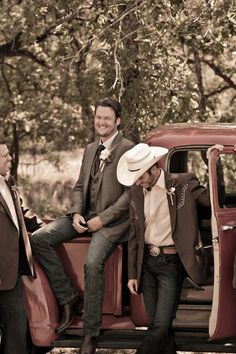 "A vintage Chevy and the country boys...the perfect country wedding ""props"" for wedding photos! (Blake & Miranda's country wedding)"