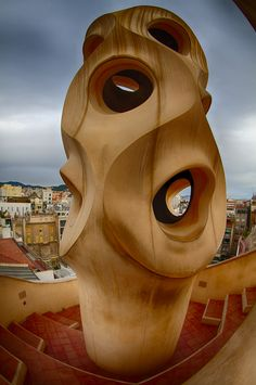 Antoni Gaudi's Casa Mila is an amazing example of unfettered postmodernisme. The roof is the biggest attraction and with good reason. What impressed me about Gaudi was that no matter how abstract or surreal, examination of any element always seems to reveal a reference to the natural world.