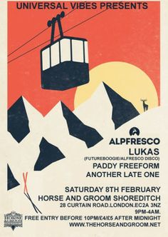 Universal Vibes presents Alpfresco w/ special guest Lukas (Futureboogie) Horse Grooming, Free Entry, Event Flyers, Electronic Music, Special Guest, Event Ticket, Presents, San, Horses