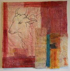 """Saatchi Art Artist: Cas Holmes; Fabric 2009 Collage """"Sacred Cow in the Pink City"""""""