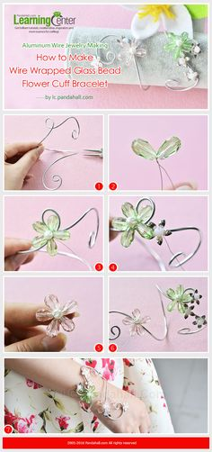 Aluminum Wire Jewelry Making – How to Make Wire Wrapped Glass Bead Flower Cuff Bracelet Wire Jewelry Making, Jewelry Making Tutorials, Wire Wrapped Jewelry, Beaded Jewelry, Beaded Bracelets, Free Tutorials, Amber Jewelry, Jewellery Making, Diy Bracelet Designs