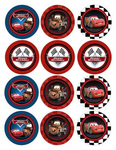 Cupcake Toppers or Favor Tags - Cars Gift Tags - Cars Printable Party Circles Disney Cars Cupcakes, Disney Cars Party, Disney Cars Birthday, Auto Party, Race Car Party, Car Themed Parties, Cars Birthday Parties, 2nd Birthday, Lightning Mcqueen Party