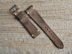 B&S Vintage Grey-Brown Hand-made Leather Strap 20 mm - Bulang & Sons