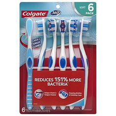 Colgate 360 Soft Toothbrush with Tongue and Cheek Cleaner - 6 Count, Blue Amazon Subscribe And Save, Colgate Toothpaste, Stained Teeth, Teeth Cleaning, Household Items, Stains, Personal Care, Bad Breath, Count