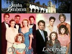 """The rival Capwell and Lockridge familes from the 80's soap opera Santa Barbara.  The Capwells (clockwise from center:  Sophia, Kelly, Ted, C.C., Mason and Eden).  The Lockridges (clockwise from center:  Minx, Lionel, Augusta, Warren and Laken).  I had MAJOR crushes on Ted and Warren used to wish they'd do a """"ground-breaking"""" gay storyline with those two!! :)"""