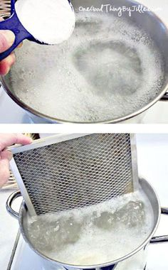 Clean your nasty oven-hood filter with boiling water and baking soda. | 42 Seriously Useful Tips Every Clean Freak Needs To Know
