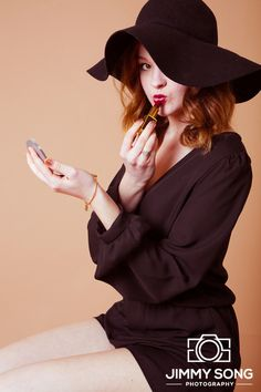 Indoor Studio Test Shoot Hat Mysterious Mocha Backdrop Arizona University Classy Vintage Lipstick Mirror