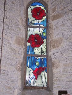 Stained glass window in The Parish Church, St. Giles, Noke, Oxfordshire