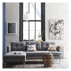 West Elm Jackson Sectional, Linen Weave, Dusty Blue - Sectional Sofas... ($2,079) ❤ liked on Polyvore featuring home, furniture, sofas, hand made furniture, linen chaise, linen sectional, linen sofas and west elm couch