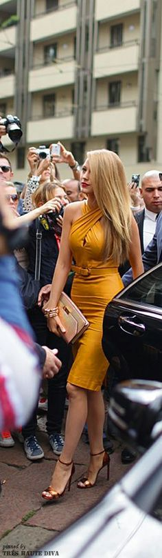 Milan Fashion Week 2014 - Blake Lively in Mustard Yellow leather dress