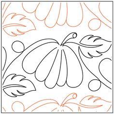 Jessica's Pumpkin Patch quilting pantograph pattern by Jessica Schick Quilting Stitch Patterns, Machine Quilting Patterns, Longarm Quilting, Free Motion Quilting, Quilting Tutorials, Quilt Patterns, Quilt Stitching, Quilting Ideas, Hand Stitching