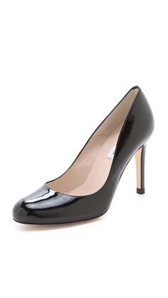 High Heel Pump: L. Black High Heel Pumps, Round Toe Pumps, Low Heels, Work Attire, Patent Leather, Peep Toe, Pairs, Fashion Design, Shopping