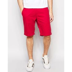 French Connection Chino Shorts (2.725 RUB) ❤ liked on Polyvore featuring men's fashion, men's clothing, men's shorts, red, tall mens shorts, mens chino shorts, mens red shorts and tall mens clothing