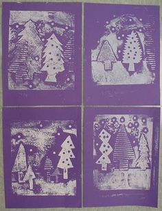 Knight's Smartest Artists: First Look at Evergreen Collagraph Prints! Kids Printmaking, Collagraph Printmaking, 3rd Grade Art, Third Grade, Winter Art Projects, Collaborative Art, Art Lessons Elementary, Winter Trees, Art Plastique