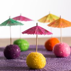 Let the party start with these festive parasol cake pops! The cake pops are made of a delicious chocolate cake and finished with melted candy melts and coloured sugar. Brownie Cake Pops, Colored Sugar, Tasty Chocolate Cake, School Treats, Candy Melts, Luau Party, Cakepops, 3rd Birthday, Parasol