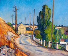Silnice v Hlubočepích, 1947 | Eduard Stavinoha | olej, plátno, 52,9 × 65,5 cm