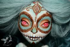 custom monster high doll repaint ooak Skelita sugar skull calaveras day of the dead - Azucar by Saijanide