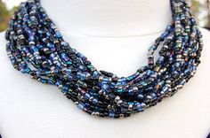 SALE Bold Beaded Necklace in Blue Black and by AzanteDesigns