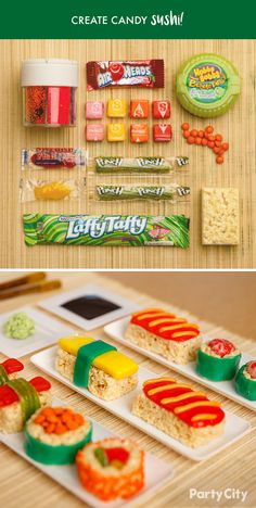 Break out the chopsticks! Create a special party treat for your sushi-loving friends with candy from Party City! Start with marshmallow rice cereal and wrap with your favorite treats. This sweet roll uses Laffy Taffy®, M Dessert Sushi, Dessert Food, Cute Food, Good Food, Yummy Food, Sushi Party, Kid Sushi, Party Snacks, Gummy Sushi