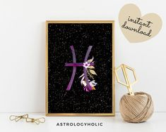 Pisces Zodiac Printable, Astrology Wall Art, Star Sign, Birthday gift, Floral Print, Constellation, Digital Download International Paper Sizes, Astrology Zodiac, Constellations, Birthday Gifts, Floral Prints, Printables, Colours, Sign, Wall Art