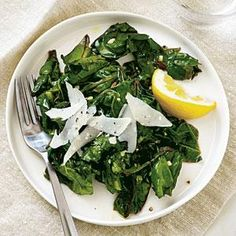 Lemon-Garlic Swiss Chard | MyRecipes.com  The variation with pine nuts and raisins looks very interesting.