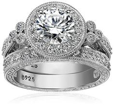 Platinum Plated Sterling Silver Swarovski Zirconia Round Antique Ring Set | eBay