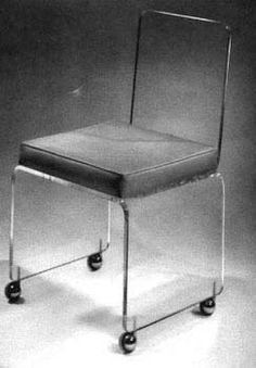 Lucite desk chair with leather seat from Plexi Craft