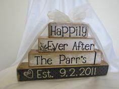 anniversary/wedding wooden block decor
