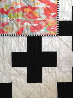 "a gorgeous modern quilt with black and white pluses on the front and watercolor ikat fabric on the back with black and white striped binding. quilted with love by lwph sews. {lwphsews.bigcartel.com}    • 40""x 49""    • CKD exclusive print    • handmade in the USA    • machine or ha..."