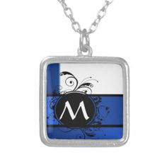 Royal blue and white personalized necklace Blue And White Necklaces, Monogram Template, I Love My Daughter, Personalized Necklace, Monogram Initials, Stripes Design, Sterling Silver Necklaces, Fashion Necklace, Dog Tag Necklace