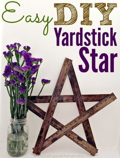easy diy yardstick star. 3 yard sticks cut at 18 inch mark. I think I'll use screws and bolts for a more industrial look.