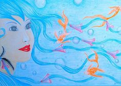 New Greeting Card featuring the mixed media Mermaid Dreams by Dwayne Hamilton
