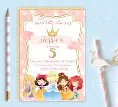 Printable Personalised Princess Belle Cinderella Rapunzel Ariel Birthday Party Invitation Invite Digital Download Girls Baby Kids by TheLittleInviteShop on Etsy https://www.etsy.com/listing/488551278/printable-personalised-princess-belle
