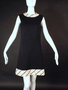 LILLI ANN-1960s Wool Knit Shift Dress, Size-6