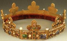 Reliquary Crown with thorns from the crown of Christ 1219AD. Æ 20,7 cm. H. 3.3 cm & 7.5 cm Treasury of Namur Cathedral, formerly treasury of St. Aubin, Inv. n° 4   The Crown consists of eight pieces set with precious stones, connected by hinges and set with fleurs-de-lys. The thorns are in little containers. This crown is West-European in style and was probably made in the region of the Meuse.
