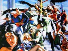 "#Justice #League #Of #America #Fan #Art. (Justice League Of America ""Wizard Cover"" in HD) By: Alex Ross. ÅWESOMENESS!!!™ ÅÅÅ+"