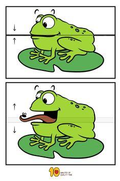 Frog eating a fly- surprise folding paper craft #animalcrafts#kidscraft#craftsforkids