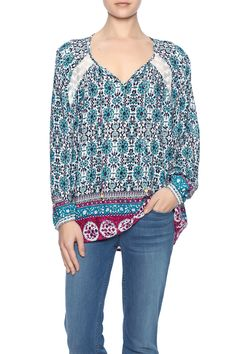 """Flows, lightweight loose fit floral blouse with front tie and lace detail.    Approx. Measures: 28"""" long from shoulder to bottom hem.   Floral Blouse by LuLu's Boutique. Clothing - Tops - Long Sleeve Clothing - Tops - Blouses & Shirts Washington"""