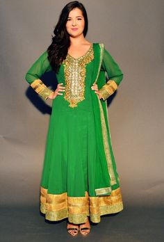 green and gold anarkali from Dress To Empress - Rent or Buy high quality Indian clothes in Canada - http://www.dresstoempress.ca/