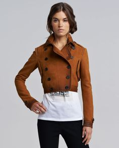 Burberry Prorsum Nubuck Cropped Flight Jacket in Brown (tan)