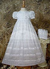 """30"""" Cotton Batiste Gown with Cluny Trim"""