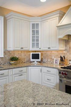 Love the light in the corner Divine Kitchens LLC traditional kitchen corner cabinet. Love the light in the corner Glass Kitchen, Kitchen Redo, New Kitchen, Kitchen Design, Kitchen Ideas, Kitchen Paint, Updated Kitchen, Refacing Kitchen Cabinets, Kitchen Backsplash