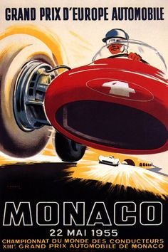 1955 Monaco Grand Prix Auto Racing Red Race Car Automobile Art Poster Giclee Print With Mounted Canvas Options Vintage Advertisements, Vintage Ads, Porsche, Audi, Course Automobile, Monaco Grand Prix, Car Posters, All Poster, Print Poster