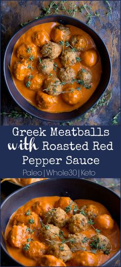 Baked turkey meatballs get a HUGE upgrade with some greek flavors, and the addition of the most glorious roasted red pepper sauce! This dinner is sure to be devoured and loved by all!