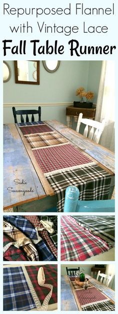 Raid his closet or the men's section at a thrift store for some flannel shirts this autumn season! In half a day, you can create a GORGEOUS, repurposed flannel and lace fall table runner...it has a great rustic cabin style feel, doesn't cost much, is easy to sew, and looks fantastic. A great way to upcycle old flannel shirts, and to add a fun mix of plaid to your fall decor. Great repurpose upcycle DIY craft project by Sadie Seasongoods / www.sadieseasongoods.com