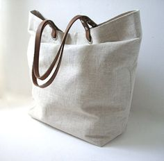 Tote Bag Neutral Linen and Medium Brown by IndependentReign, $104.00