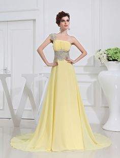 A-Line/Princess One-shoulder Beading Appliques Chiffon Dresses PromEver